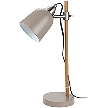 Stylish Metal Desk Lamps, UL-listed Cable Cord, E12 Bulb Socket, Adjustable Gray Steel Shade Table Light with Wood Grain Finish Iron Pole, for Reading Industrial Office Study Studio Work Lighting