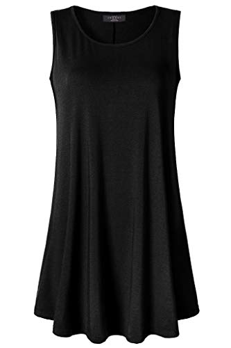 04a4d916ef30 Lock and Love Women Solid Short Sleeve/Sleeveless Tunic for Leggings Swing  Tunic Flare Tank