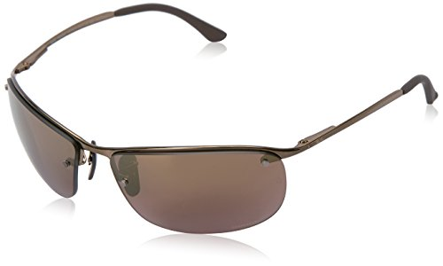 Ray-Ban Men's RB3542 Chromance Mirrored Rectangular Sunglasses, Shiny Brown/Polarized Purple Mirror, 63 ()