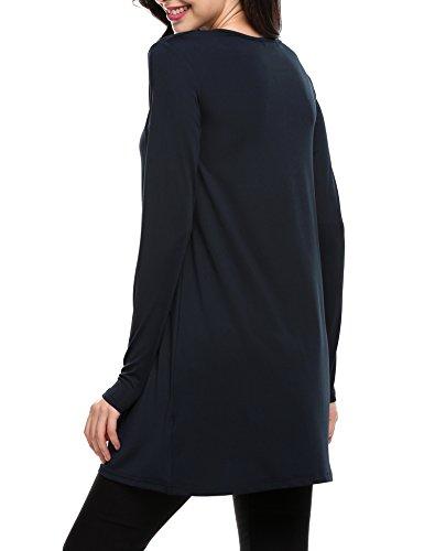 Women Casual Line 2 Summer Dress Neck Short ACEVOG Striped Sleeve Style navy Blue O Flared A dAqnv0