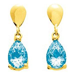 So Chic Bijoux © Boucles d'oreilles Femme Pendant Goutte Topaze Bleu Or Jaune 750/000 (18 carats)