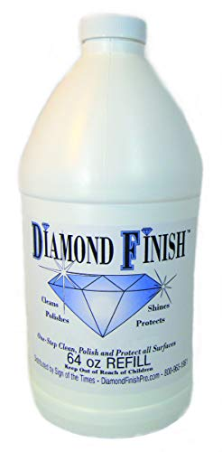Diamond Finish 64oz Refill Multi Surface Nano Cleaner Polish Protector for Vehicles, Home, Boats; Removes Bug Residue, Tar, Bird Poop, Brake Dust, Tree Sap, Grease, Fingerprints - While it Shines