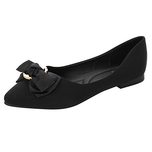 Meeshine Womens Bow Pointed Toe Ballet Flats Comfort Suede Slip On Flat Dress Shoes Black US 6