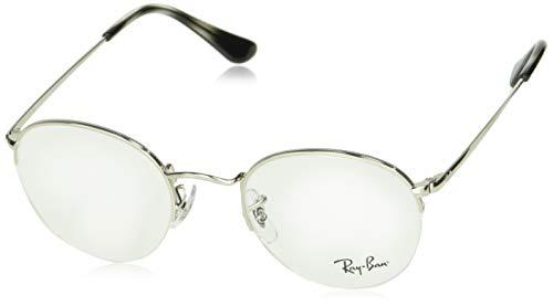 Ray-Ban RX3947V Round Metal Eyeglass Frames, Silver/Demo Lens, 48 ()