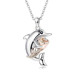 KesaPlan 14K Rose Gold Flower Dolphin Pendant Necklace for Women Dolphin Pendant Necklace Crystals from Swarovski…