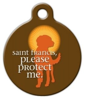 Saint Francis Protect Me Pet ID Tag for Dogs and Cats - Dog Tag Art - LARGE SIZE