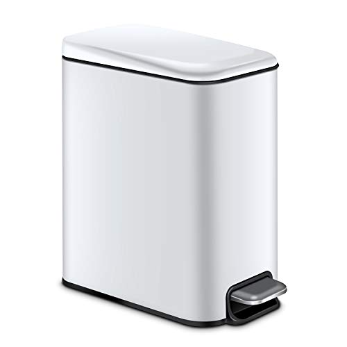 Magdisc Small Trash Can for Bathroom, Home, Office, 5 Liter / 1.3 Gallon Rectangular Step Garbage Can with Soft Close and Removable Inner Wastebasket, Anti-Fingerprint, White