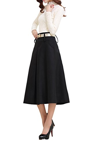 Tribear-Womens-Vintage-High-Waist-Wool-A-line-Pleated-Midi-Skirts