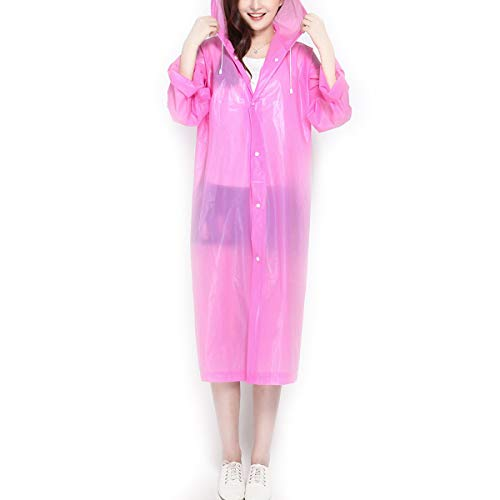 IWEIK Portable Raincoat Reusable Translucent Unisex Rain Poncho for Outdoor Backpacking Travel Camping Hiking (Pink)