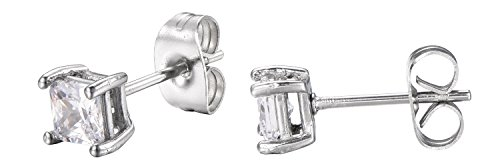 cess Cut White Cubic Zirconia Stud Earrings With Push Backings -4mm- By Regetta Jewelry ()