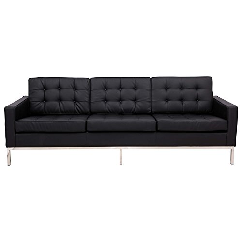LeisureMod Modern Florence Style Sofa in Black Leather