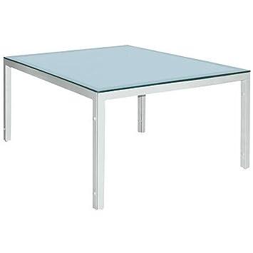 Amazon De Mbm Tisch Manhattan Weiss 150x150 Mit Glasplatte Ice
