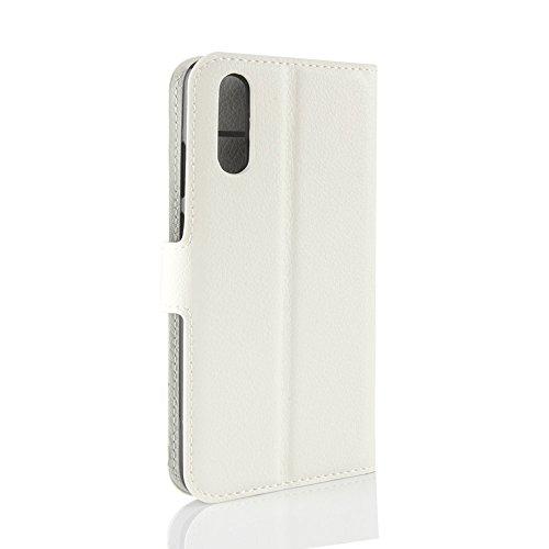 Huawei P20 Funda, Moonmini Ultra Delgada Libro Caso Flip Folio Funda de cuero PU Billetera Ranura de Tarjeta de Crédito Caja antirayas a prueba de choques del teléfono con Cierre Magnético y función d Blanco