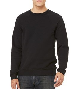 Bella + Canvas Unisex Sponge Fleece Crew Neck Sweatshirt (Black) (L)