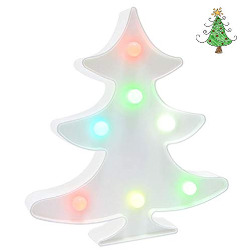 (Christmas Tree Night Light, Colorful Christmas LED Lamp Decorative Marquee Signs Battery Operated Table Decoration for Wall/Home Decor,Girls Bedroom,Birthday/Christmas Gifts by Shellvcase)