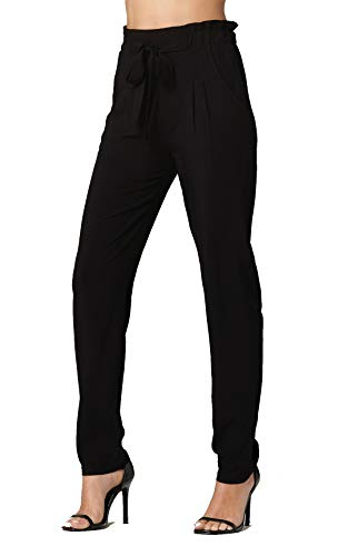 Conceited Women's Pants Casual Slim Paper Bag Waist Pants with Pockets - Black - S - PB01-Black-S