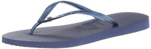 Havaianas Women's Slim Crystal Glamour SW Flip Flop,Navy/Blue,37 BR/7/8 M (Swarovski Crystal Flip Flop)