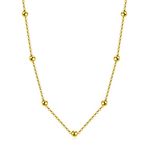 Choker Necklace 18k Gold over 925 Sterling Silver Satellite (14k Gold Beaded Necklace)