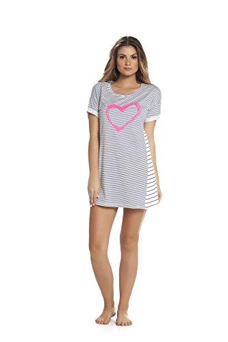 Chemise de nuit - Manches courtes - Motif coeur - Femme