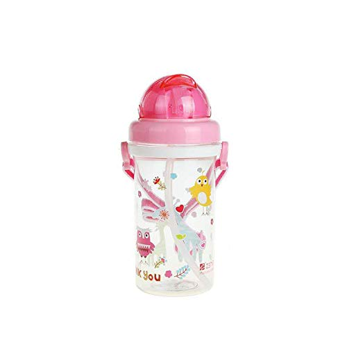 TIAN CHEN Water Bottle for Kids with Lid, BPA-Free, Leak Proof, Reusable Straw Sippy Cups for Toddlers (Pink 11.95oz(350ml)) (Straw Sippy Cup Leak Proof)