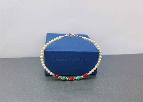 Small Bead White Pearl Bracelet, Mediterranean Red Coral Bracelet, Turquoise Gemstone Bracelet, Sterling Silver *Exp Shipping