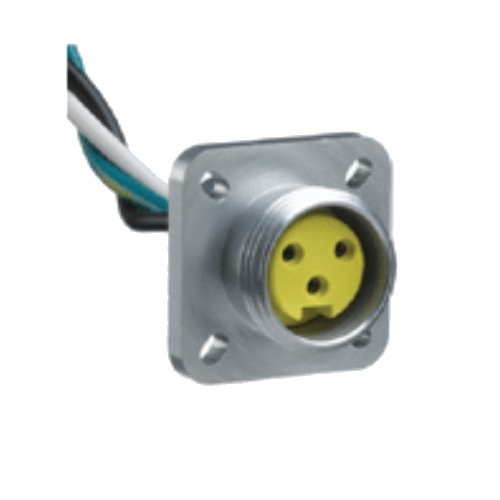 Woodhead 1R3005A20A120 Mini-Change A-Size Receptacle with Lead, Female Right Angle, 3 Pole, 1/2''-14 NPT Mounting Thread Size, UL1061 Cable Type, PVC Cable Jacket, 16AWG Wire Size, 13.0A Max Current Rating, 600V AC/DC Max Voltage, 12'' Cable Length, Front P
