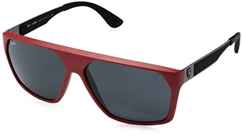 Ray-Ban Men's RB4309M Scuderia Ferrari Collection Square Sunglasses, Matte Red/Grey, 61 ()