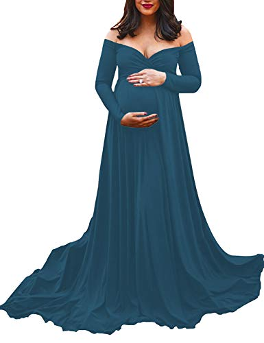 Saslax Maternity Off Shoulders Half Circle Gown for Baby Shower Photo Props Dress