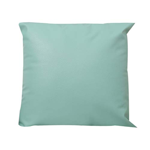 WWFFOO Leather Oil Wax Cushion Cover Home Decorative Square Throw Pillow Covers Set Cushion Cases Pillowcases for Sofa Bedroom Car Sofa Chair 18 x 18 Inch 45 x 45 cm with Hidden Zipper (Green)