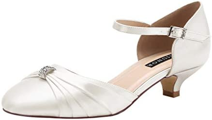 Erijunor E0713b Women Comfort Low Kitten Heel Buckle Ankle Strap