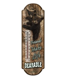 Large Durable Powder Coated Tin Bear Thermometer - - Tin Thermometer Bear