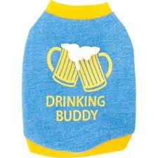 TOP PAW Blue Drinking Buddy Dog T-Shirt~MEDIUM~