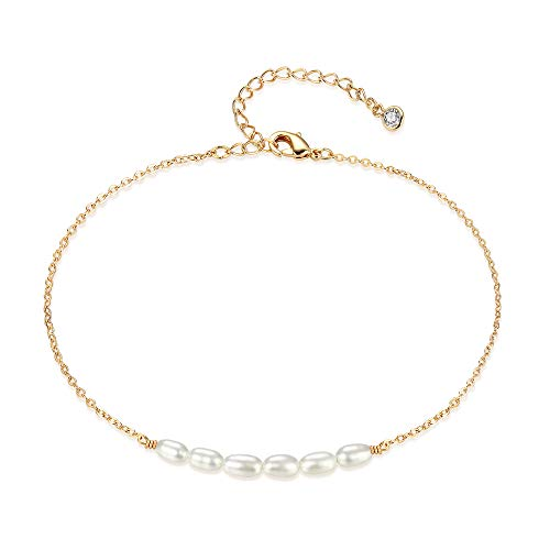 - Mevecco Women Gold Anklet Boho Delicate Handmade 18k Gold Plated Dainty Beach Pearl Foot Chain Ankle Bracelet Adjustable Wafer Anklet for Women ANK-Pearl