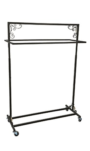 Boutique Vintage Salesman Rolling Rack - Double Rail 48''W X 20''D X 48-66''H by STORE001