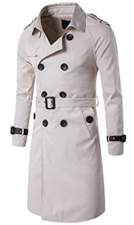 QianQian-AU Men's Hipster Double Breasted Slim Mid Long Length Overcoat Trench Coat Beige XS