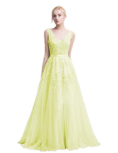 (BessWedding Women's Tulle Spaghetti Strap Prom Dress Long Lace Bridal Formal Gowns Size 12 L)