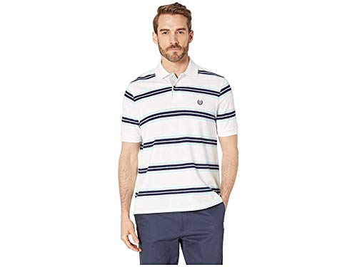Chaps Men's Classic Fit Striped Cotton Mesh Polo Shirt, White Multi, L