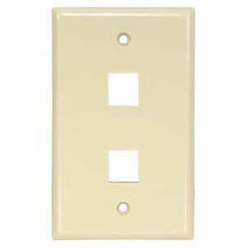 Black Point Products BT-193 Ivory Cat-5 2-Cavity Keystone Wall Plate, Ivory