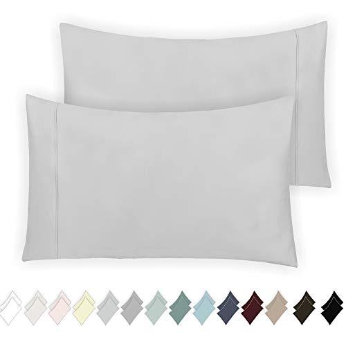 California Design Den 400 Thread Count 100% Cotton Pillow Cases, Light Grey Standard Pillowcase Set of 2, Long - Staple Combed Pure Natural Cotton Pillowcase, Soft & Silky Sateen Weave