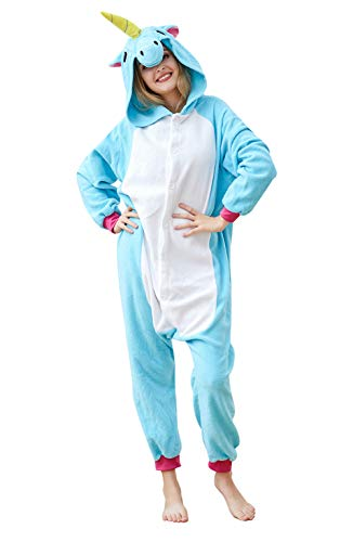 EcoOnesie Animal Cosplay Pajamas Blue Unicorn Onesie Lounge Wear Unisex Adult Halloween Costume Size X-Large by EcoOnesie