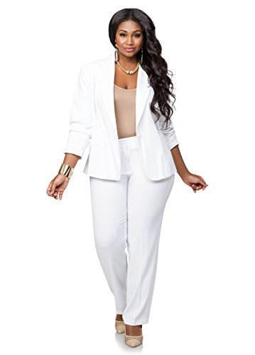 Ashley Stewart Women's Plus Size AVG BACK LEG SEAM TROUSER - Color: White, Size: 22