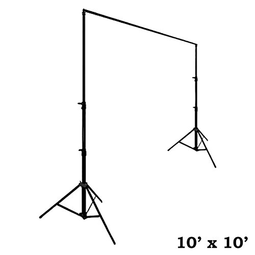 BalsaCircle 10 feet x 10 feet Black Backdrop Stand Kit with Steel Base - Wedding Ceremony Event Party Photo Booth Studio Decorations (Buffet Bar Base)