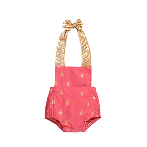 UMFun Newborn Infant Baby Boy Girls Summer Bowknot Dot Rompers Outfits Clothes Pink