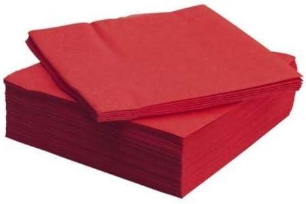 Red 40cm 3ply Dinner Napkins Pack 100