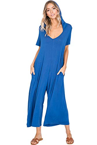 Annabelle Women's Knit Plus Size Jumpsuit Featuring Palazzo Pants with Hood Royal Blue X-Large J8071P ()