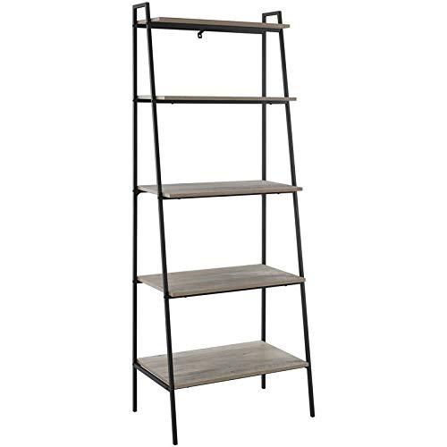 72 inch Metal and Grey Wash Wood Ladder Shelf (Grey Metal Bookcase)