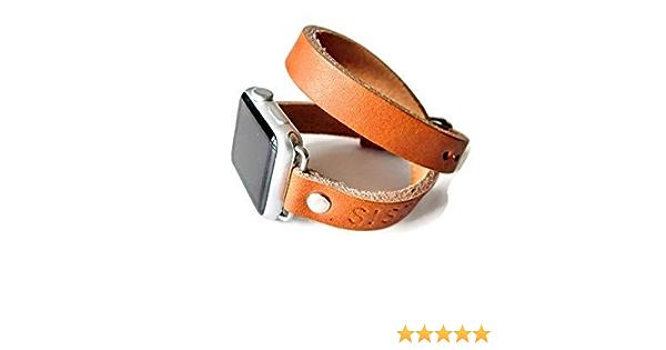 Amazon Com Series 6 Double Wrap Leather Apple Watch Band Double Wrap Brown Band 38mm Leather Watch Band Apple Watch Strap Iwatch Band Handmade