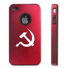 Apple iPhone 4 4S 4G Red D2232 Aluminum & Silicone Case Cover Hammer and Sickle