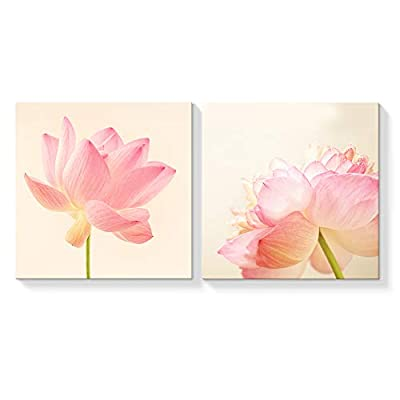2 Panel Canvas Wall Art Summer Lotus Canvas Painting Wall Decor for Living Room Framed Home Decorations -