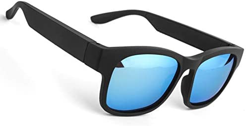 Sensible Glasses Wi-fi Bluetooth Shades Open Ear Song&Arms-Loose Calling,for Males&Ladies,Polarized Lenses,IP4 Water-proof,Attach Cell Telephones and Capsules (Blue)